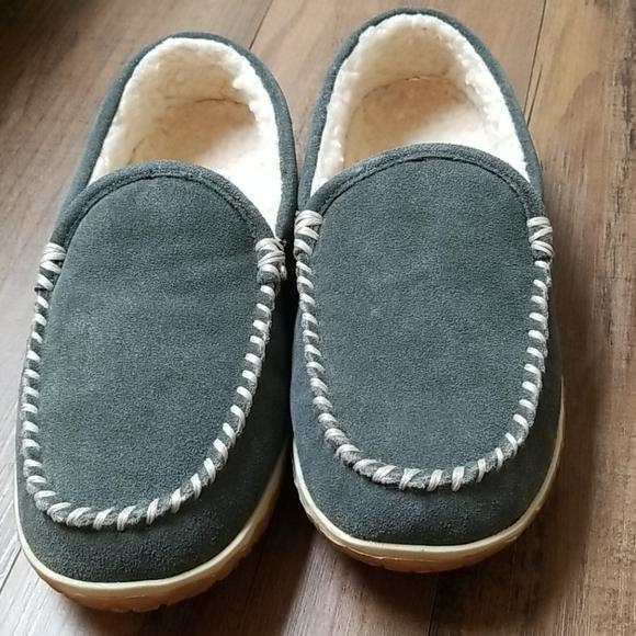 Minnetonka Tilden - Mens 8 Grey Slipper Me…